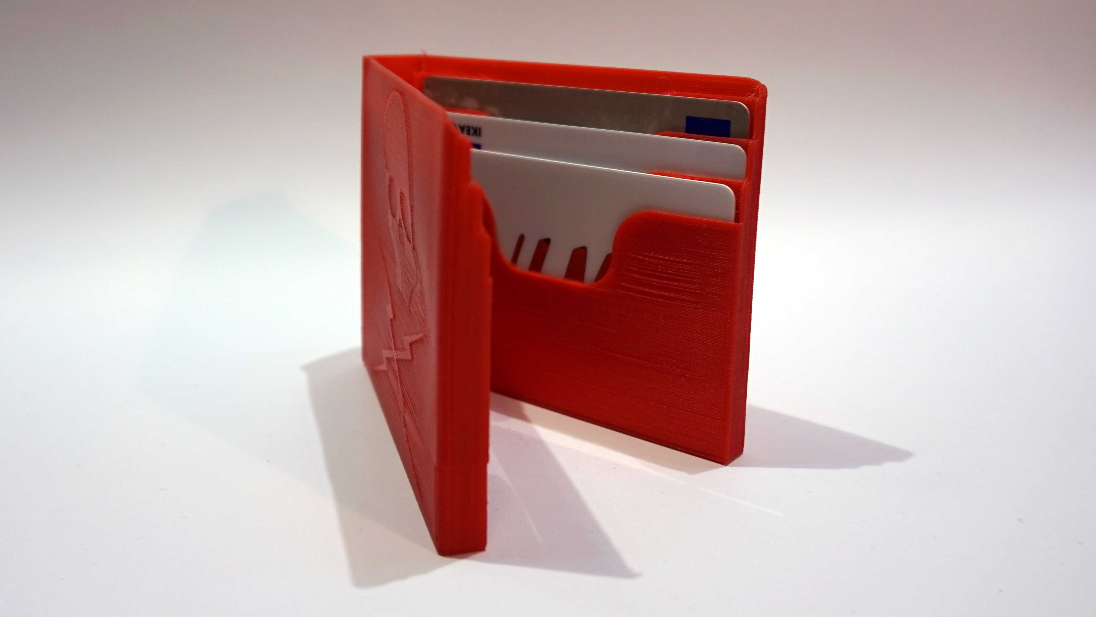 "3D printed wallet. The skull logo is from Tarantino's ""Death Proof""."